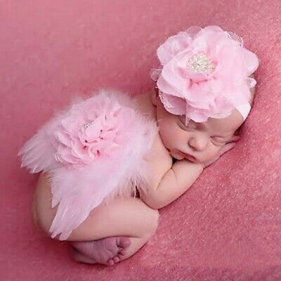 Angel Wings For Babies (Costume Feather Angel Wings Headband For Newborn Baby Kids Dress Up Photo)