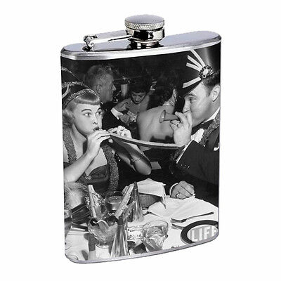 Vintage New Years Eve D6 Flask 8oz Stainless Steel Hip Drinking Whiskey  - New Years Eve Drinks