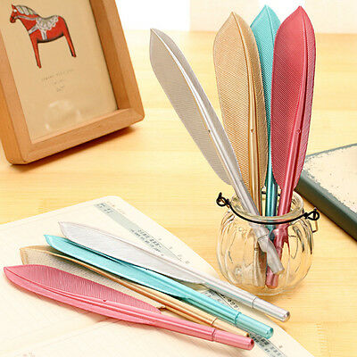 5PCS New Cute Wing Feather Ballpoint Ink Pens Creative Stationery Student Gift