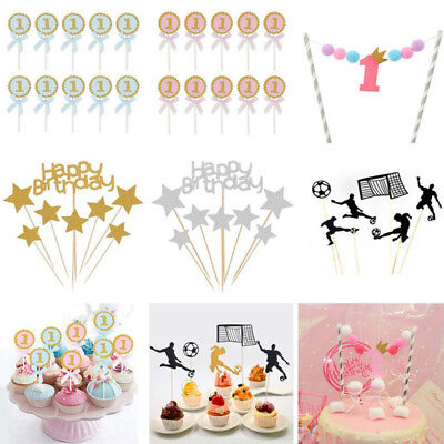 Baby Shower Happy Birthday Cupcake Topper Flag Banner Cake Decor Party - Baby Shower Cake Decorating Supplies