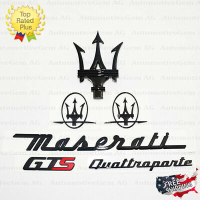 Maserati Emblem Quattroporte GTS Grille Trident Side Logo Black Badge Set Kit