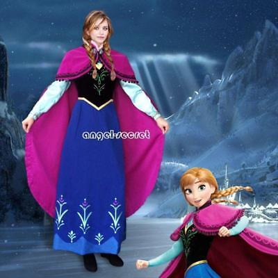 Frozen Dresses For Adults (J787 Movies Frozen princess tailor made kid adult ANNA Cosplay Costume)