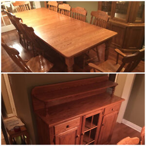 Brices Mennonite Dining Furniture Table 10 Chairs Hutch