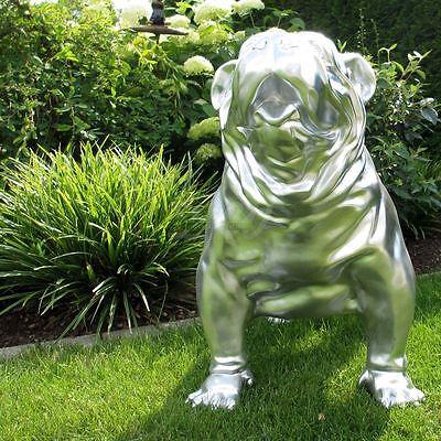 englische BULLDOGGE 93 cm SILBER Garten Deko Figur HUND Tier Skulptur Hunde