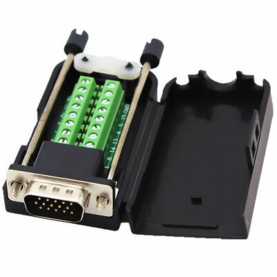 DB15 Male D-SUB 3 Row 15Pin VGA Plug Breakout Terminal Solderless (Vga Male Db15 Connector)