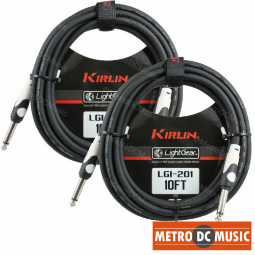 """2-Pack Kirlin 10 ft Guitar Instrument Patch Cable Cord Free Tie 1/4"""" AWG20 NEW"""