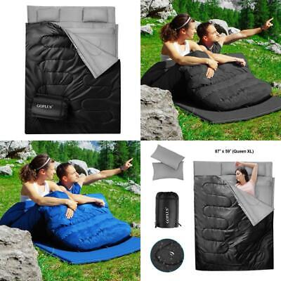 Double 2 Person Sleeping Bag Waterproof Cotton w/2 Pillows C