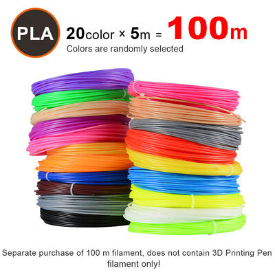 Plastic Colored Pen (5M 20 Colors 3D Pen Filament PLA 1.75mm Plastic Rubber Printing)