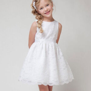 Flower Girl's Sleeveless Ivory Lace Communion Party Dress 8 New