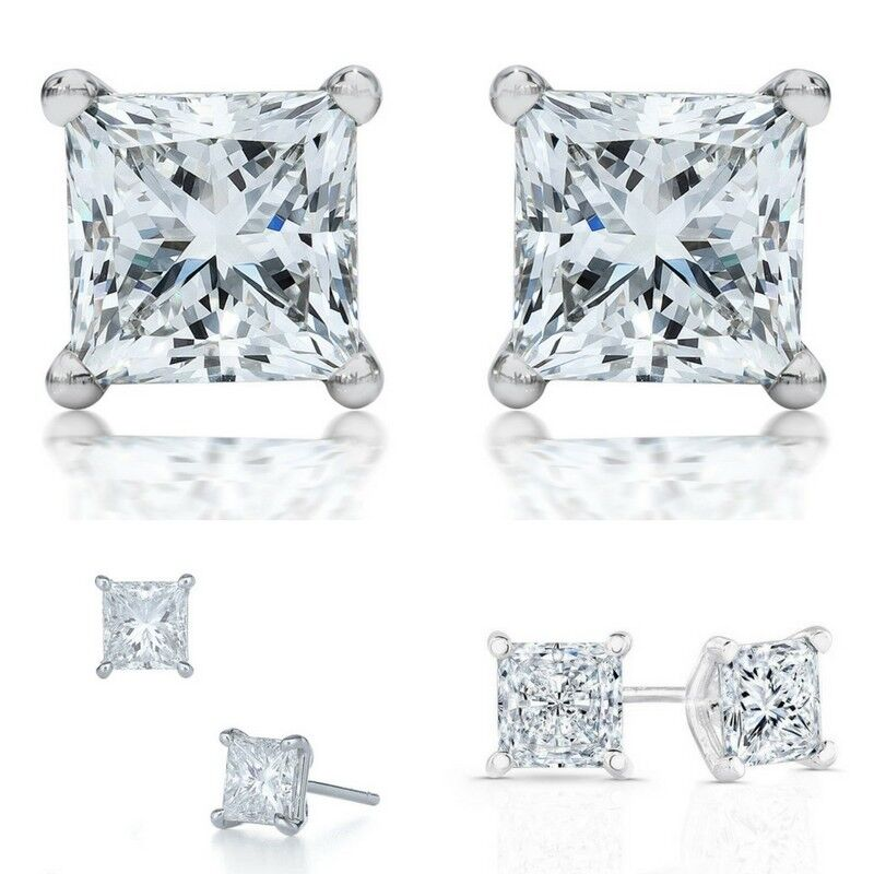 1.1 Ct Princess Stud Diamond Earrings Vs2/d 18k White Gold Engagement, Enhanced