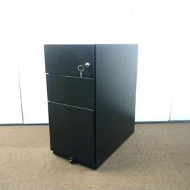 Black metal 3 drawer slimline pedestal