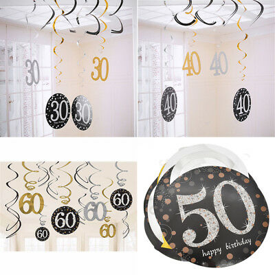 30/40/50/60 Year Old Party Decor Single Spiral Ornament Happy Birthday Adult - 40 Year Old Decorations