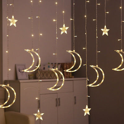 HOTStar Moon Fairy Lights Led Curtain String Light Garland 3.5m Xmas - Led Lei