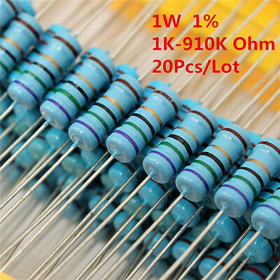 20pcs 1w 1 Watt Metal Film Resistor 1 1k -910k Ohm 1 K - 910 K Free Shipping