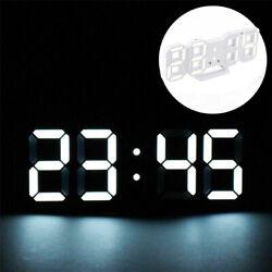 Electronic Alarm Display 3D LED Digital Clock Table Wall Clock Dimmer Modern USB