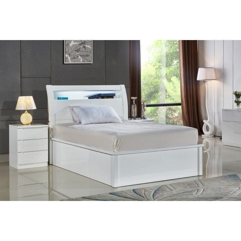 4f60ac5f73e SALE - NEW BLACK   WHITE HIGH GLOSS OTTOMAN STORAGE BED FRAME WITH LED LIGHT  + SOLID FLAT BOARD BASE