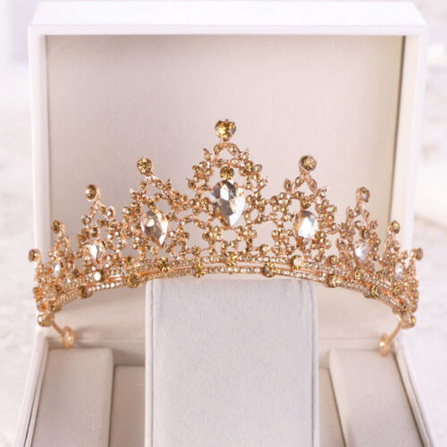 Champagne Gold Queen Tiara Crown Wedding Party Bridal Headwear