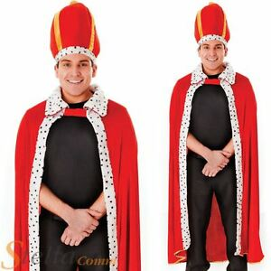 Mens Red Medieval Royal King Robe & Hat Fancy Dress Costume Adult Outfit