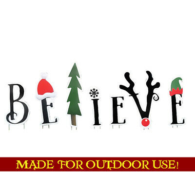BELIEVE Set of Plastic Outdoor YARD SIGNS Standee Standup Christmas FREE SHIP](Christmas Yard Signs)
