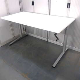Sit and stand desk crank handle white 1600 x 800mm steelcase