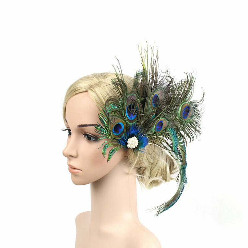 Peacock Feathers Fascinator Handmade Women Hat Hair Clip Headware Bridal Tiara