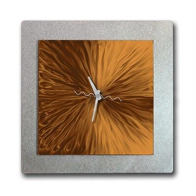 Handmade Abstract Copper & Silver Wall Clock -  Vortex of Copper by Jon Allen