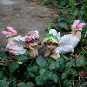 Set of two laying flower fairy garden ornaments outdoor for Flower garden ornaments