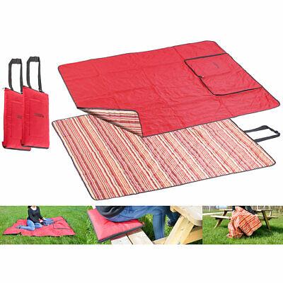 PEARL 2er-Set 3in1-Multi-Picknickdecken mit Sitzkissen & Zudecke, 150x130