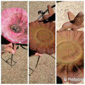 2x VINTAGE cast iron flower with bird garden ornaments