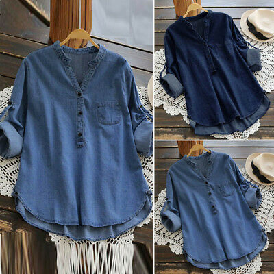 UK Womens Buttons V Neck Long Sleeve Shirt Jeans Ladies Denim Look Tops Blouse