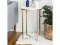 2x Marble effect side table with gold legs