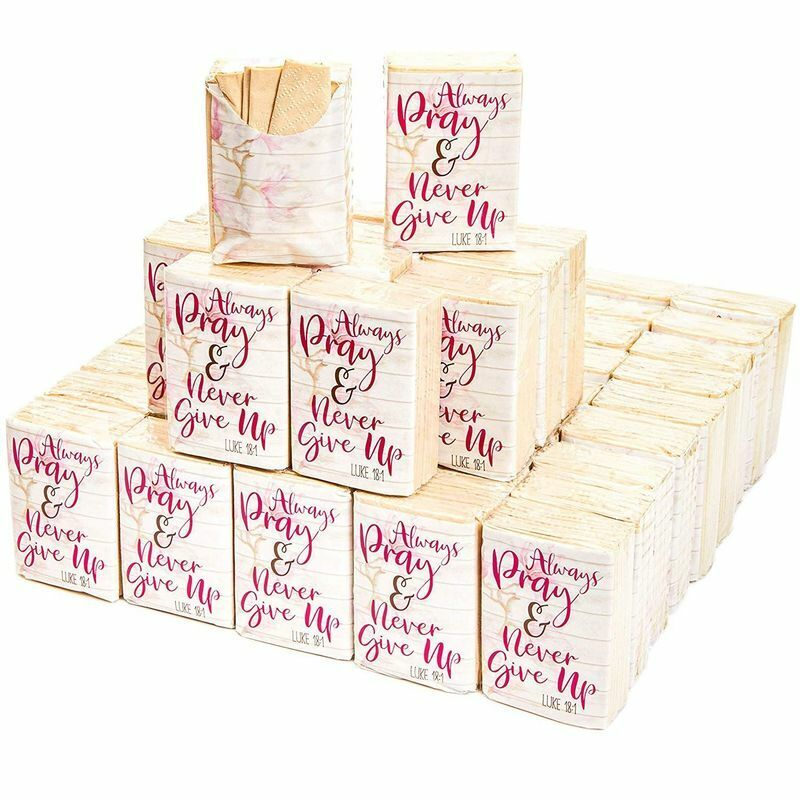 60Pack Always Pray and Never Give Up Wedding Facial Pocket Travel Tissue Packs