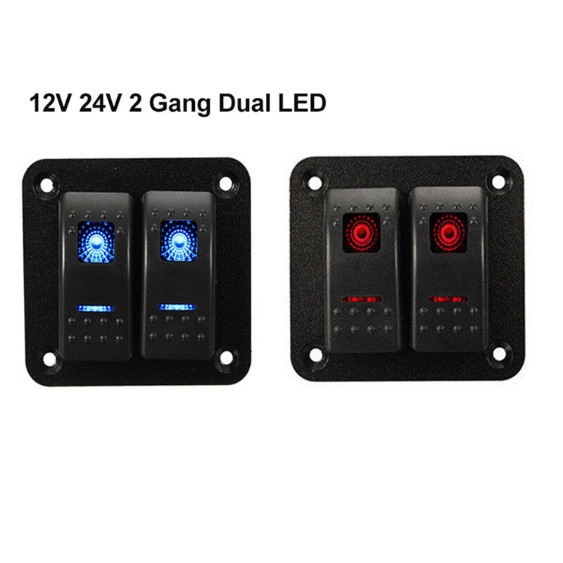 2 Gang LED Rocker Switch Panel Circuit Breakers 5PIN For Car Boat Marine 12V 24V