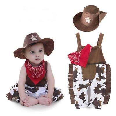 US 3pcs Baby Outfit Set Cowboy Hat+Bodysuit+Scarf Boy Xmas Party Romper Costume - Cowboy Outfits