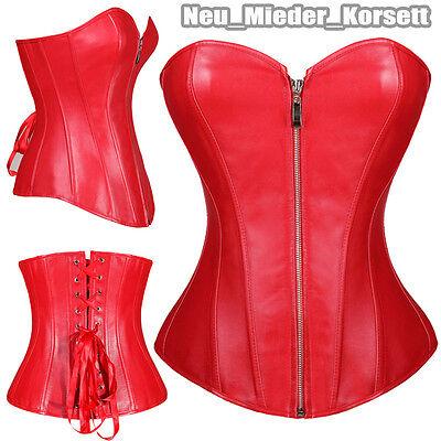 Damen Leder Bustier (Rot Damen Kunstleder Reißverschluss Sexy Corsage Korsett Goth Bustier Outfit #E)