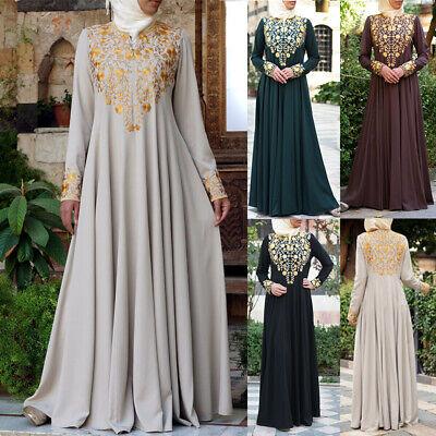 Summer Muslim Women Maxi Dress Dubai Abaya Robe Islam Kaftan Printed Plus Size