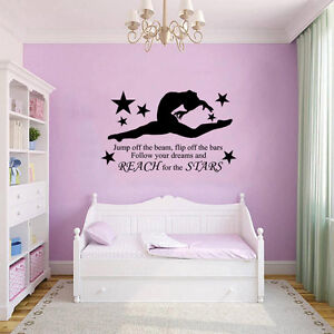 Gymnast Gymnastic Girls Bedroom Quote Vinyl Wall Art Sticker Decal Mural 2