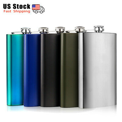 12OZ Classic Stainless Steel Hip Flasks with Funnel Alcohol Whiskey Gift for (Mens Flask)