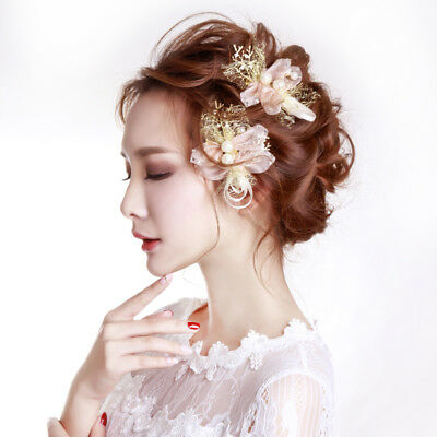 Flower Hair Accessories Wedding Prom Hair Clip 2 Pieces Crystal Bridal Headpiece for sale  China