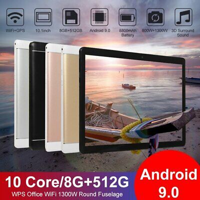 """Android 9.0 WiFi 10.1"""" Tablet 8+512GB Pad 10 Core Game Phone"""