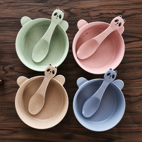 Infant Child Baby Toddler Dinnerware Round Bowl Dinnerware With Soup Spoon Set