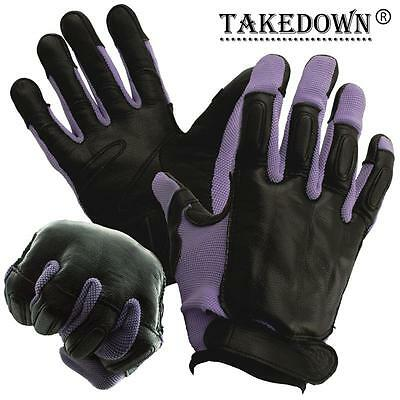 NEW GENUINE SAP GLOVES REAL BLACK LEATHER WITH PURPLE NYLON COMFORTABLE SIZE M