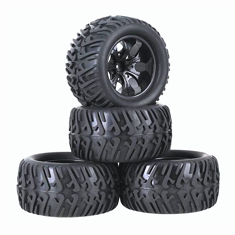 4 Pack RC Tires and Wheel Rims Set Foam Inserts 12mm Hex Hub for 1/10 Truck