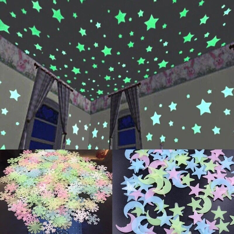 3D Star & snowflakes Wall Stickers for kids And living room Glow In the dark 1