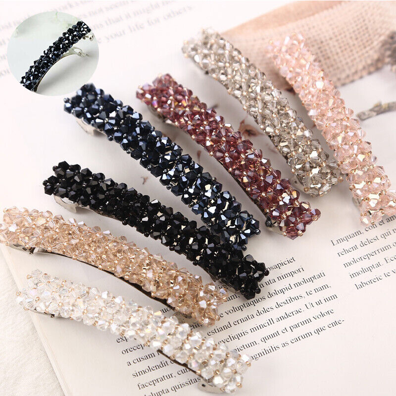 Women Fashion Girl Bling Crystal Rhinestone Hair Clip Barrette Hairpin Clips