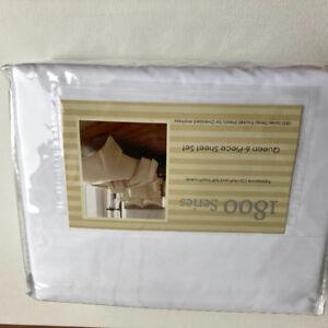 New 1800 Series Queen 6 piece Sheet Set Deep Pocket White