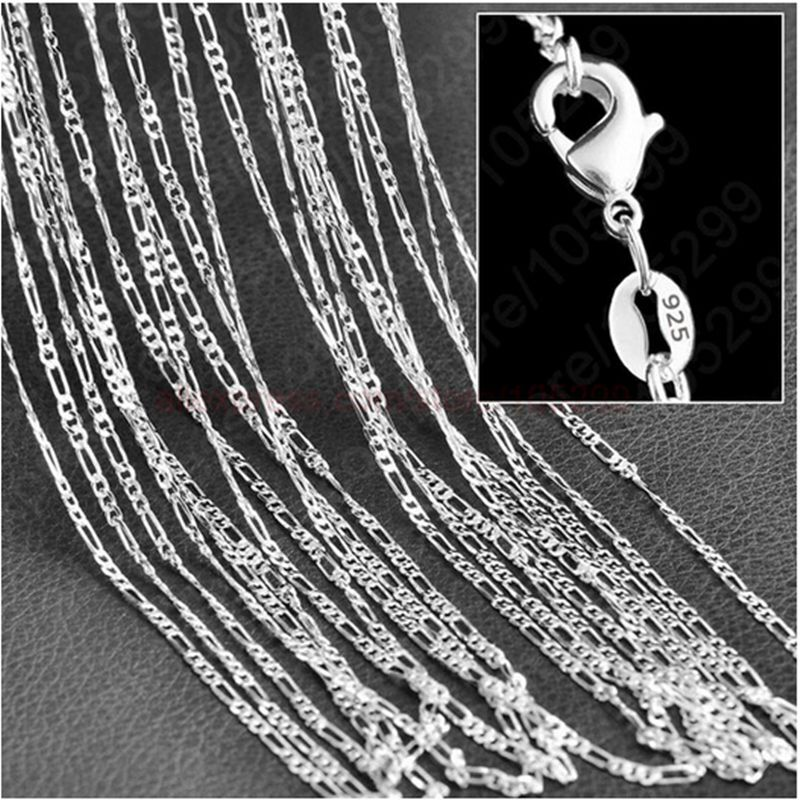 Beads & Jewelry Making 5PCS 16-30 inches 925 Sterling silver plating Water Wave Chain Necklaces
