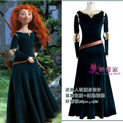 Brave Legend Princess Merida Cosplay Costume Adults Women Dress Halloween Party - Merida Dress Adults