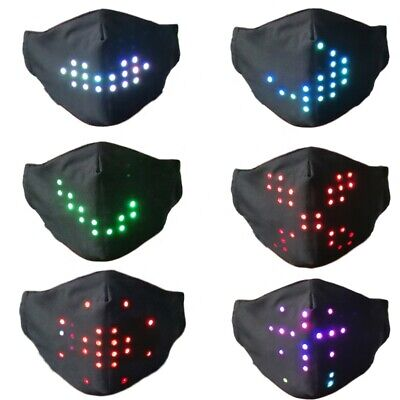 New Voice Activated LED Face Mask - Imitates Lips Speaking - Animation Commands