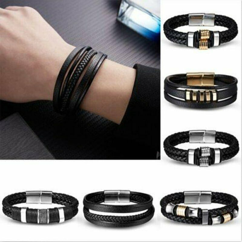 Men Leather Band Bracelets Watch Buckle